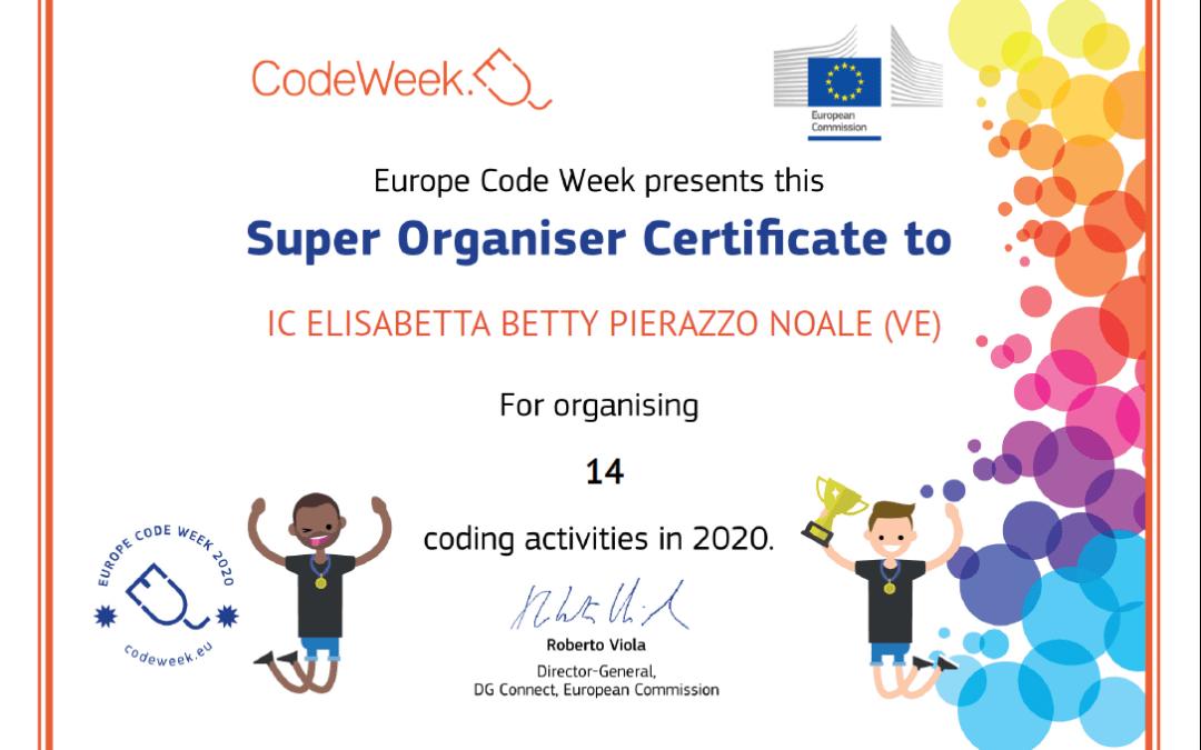 Certificato di eccellenza CodeWeek per la scuola primaria di Noale